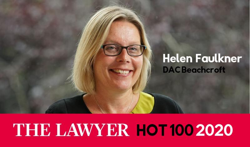 DAC Beachcroft's Head of Insurance, Helen Faulkner, named one of The Lawyer's Hot 100 for 2020